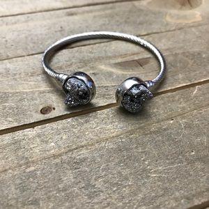 Jewelry - Beautiful Gray Druzzy Bangle Bracelet